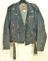 Jordache jeans jacket SZ M denim moto style vintage zippers pockets belt dark image 7