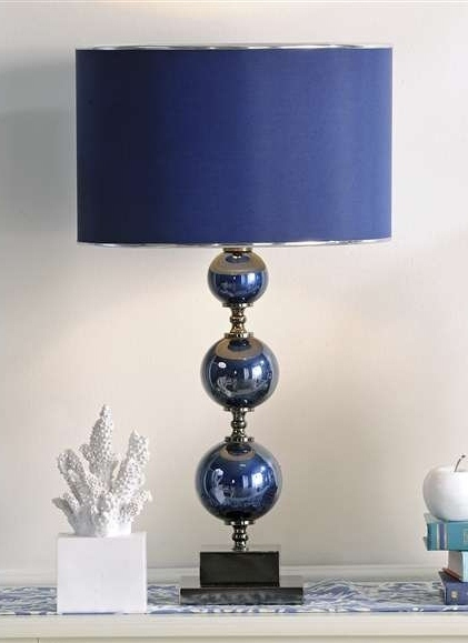 "27"" Nautical Look Blue Glass & Metal Table Lamp with Shade NEW"