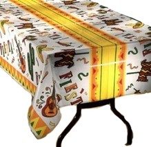 Fiesta Time Party  table cover tablecloth plastic 54 x 108 (2 pieces) - $7.91