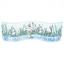 Fused Art Glass Flamingo & Cattails Wavy Decor Piece Handmade Ecuador