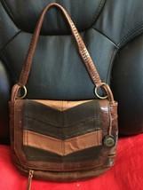 The Sak Brown Suede Metallic Distresses Hobo Handbag Flap Zip Medium - $17.60