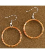 Spiny Oyster Inlaid Sterling Silver Hoop French Hook Earrings - $99.07