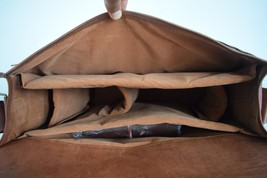 16x12' Men's Vintage Leather DSLR Camera Bag Padded Briefcase Macbook Satchel image 11