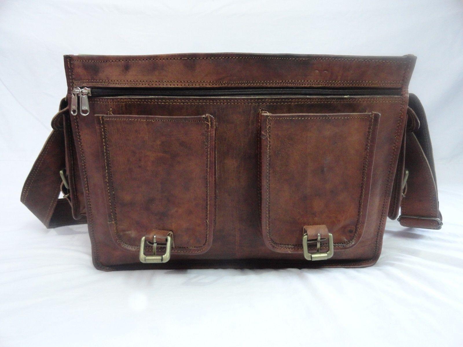 16x12' Men's Vintage Leather DSLR Camera Bag Padded Briefcase Macbook Satchel image 9