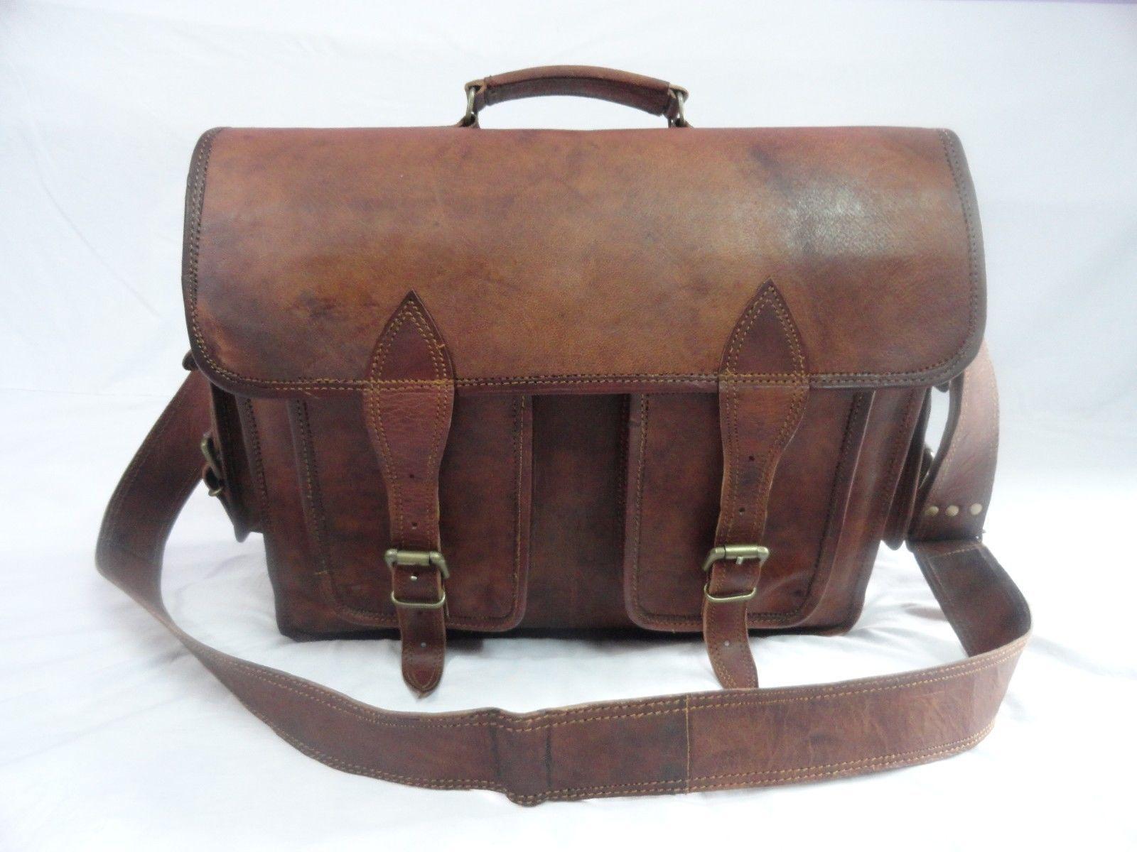 16x12' Men's Vintage Leather DSLR Camera Bag Padded Briefcase Macbook Satchel image 3