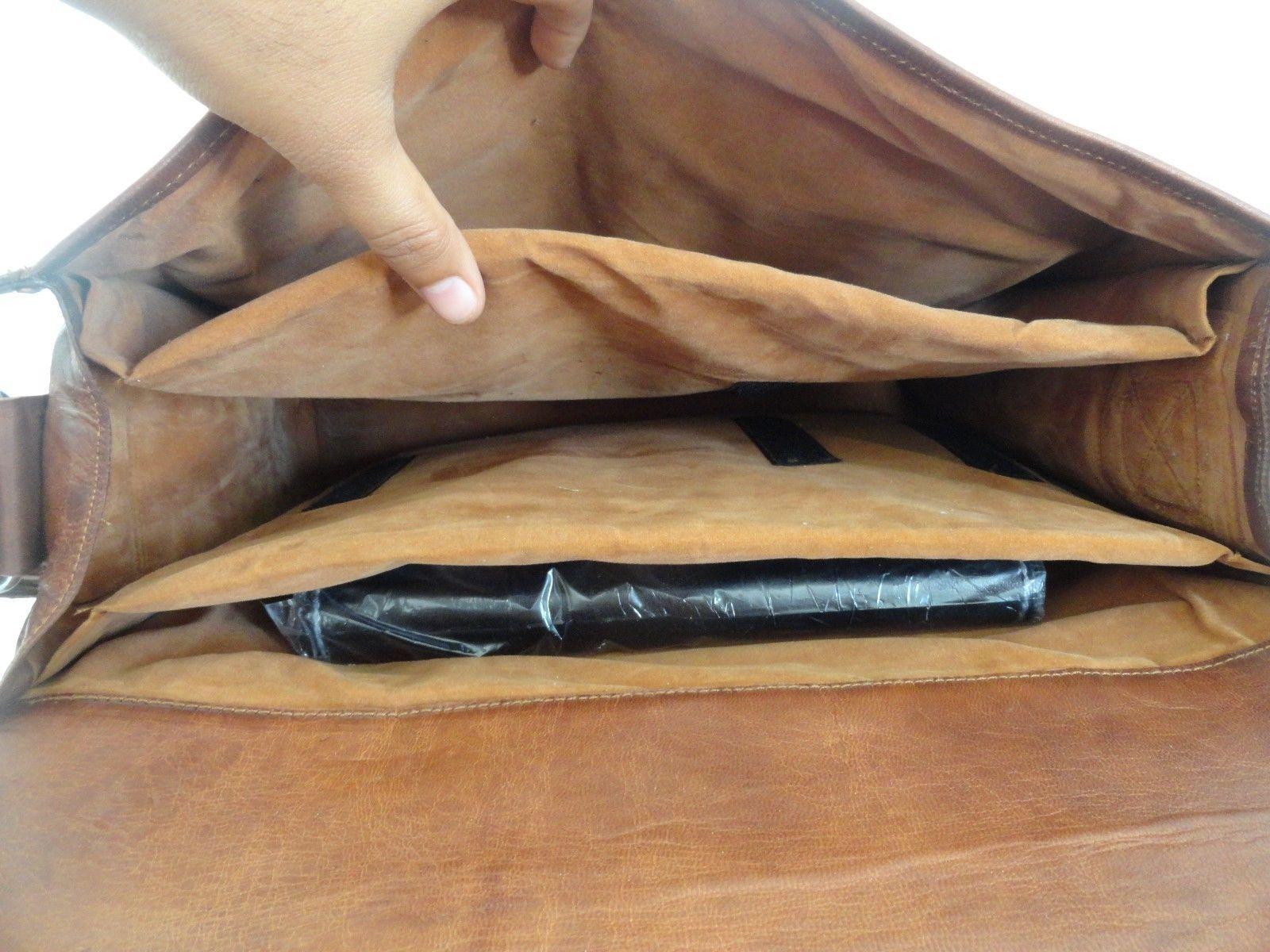 16x12' Men's Vintage Leather DSLR Camera Bag Padded Briefcase Macbook Satchel image 10