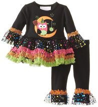 Baby Girls Black Owl-on-Moon Sparkle Tutu Dress/Legging Set,Bonnie Jean