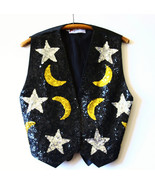 Black Sequin Vest Womens Moon Stars Snap Closur... - $25.00