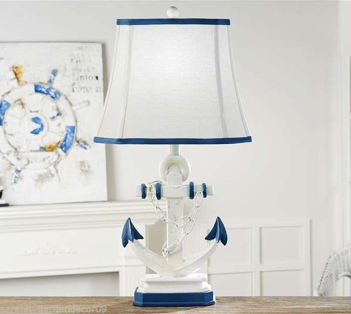 """27"""" Anchor Design Table Lamp Blue & White Weathered Finish w Blue Trim Shade"""