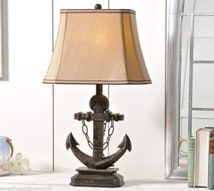 "27"" Anchor Design Table Lamp with Taupe Lamp Shade Brown Rustic Finish Polystone"