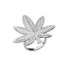Sterling Silver Marijuana Weed Leaf Statement Ring - £39.42 GBP
