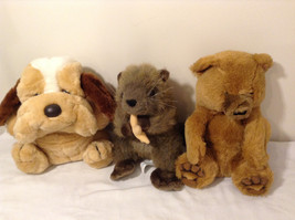 3 Plush Stuffed Animal Hand Puppets w/ Basset Hound Puppy + Otter + Teddy Bear image 1