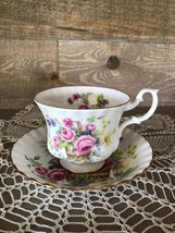 Royal Albert Flower Basket Roses Teacup Saucer Bone china England Gold Trim - $32.18