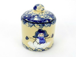 Alpine Pottery Mini Crock, Sugar Bowl, Tea Storage, Sponge Painted w/ Sn... - $14.65