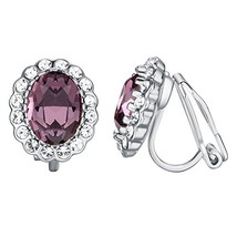 Yoursfs Purple Crystal Earrings for Women Engagement Wedding CZ Jewelry ... - $12.20