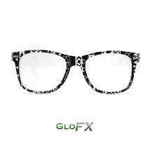 GloFX Noir Geometric Diffraction Glasses Classic Black and White Frame Opticals  - $17.98