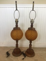 Pair of Vintage Victorian Amber Diamond Quilted Wooden Table Lamps - $214.70