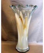 """Hand Blown 11"""" White/Brown Swirl Art Glass Vase - $22.99"""
