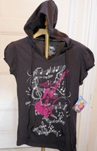 New Disney Hannah Montana Girls L 11/13 Top Black Hood Guitar Music Note... - $7.81