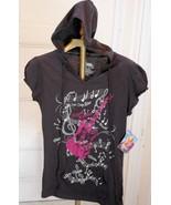 New Disney Hannah Montana Girls L 11/13 Top Black Hood Guitar Music Note... - $7.81