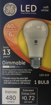 GE LED Soft White 40W Equivalent Dimmable A19 Light Bulb uses 6W - $6.29