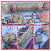 CLEARANCE Romantic Christmas Sewing Set chart w/floss Romy's Creations  - $12.00