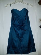 Womens teal satin H&M sweetheart fitted dress s... - $14.58
