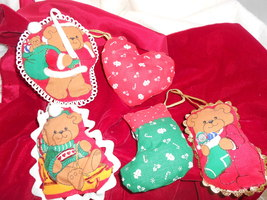 5 cloth stuffed Christmas tree ornaments Bears ... - $5.50
