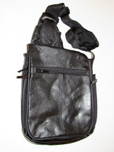 Buxton Leather Black Backpack/Cross-body Messenger Bag/Expandable Organizer - $23.09