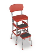 Red Counter Stool Vintage Retro Kitchen Chair Bar Seat Pull Out Steps Climb - $76.49