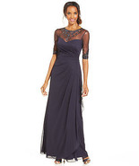 Patra New Womens Navy Embellished Illusion Draped Matte Chiffon Gown  10... - $89.99