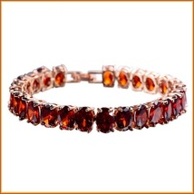 Full Circle Ruby Red Cubic Zirconia Diamond Stones 18K Gold Plate Link Bracelett