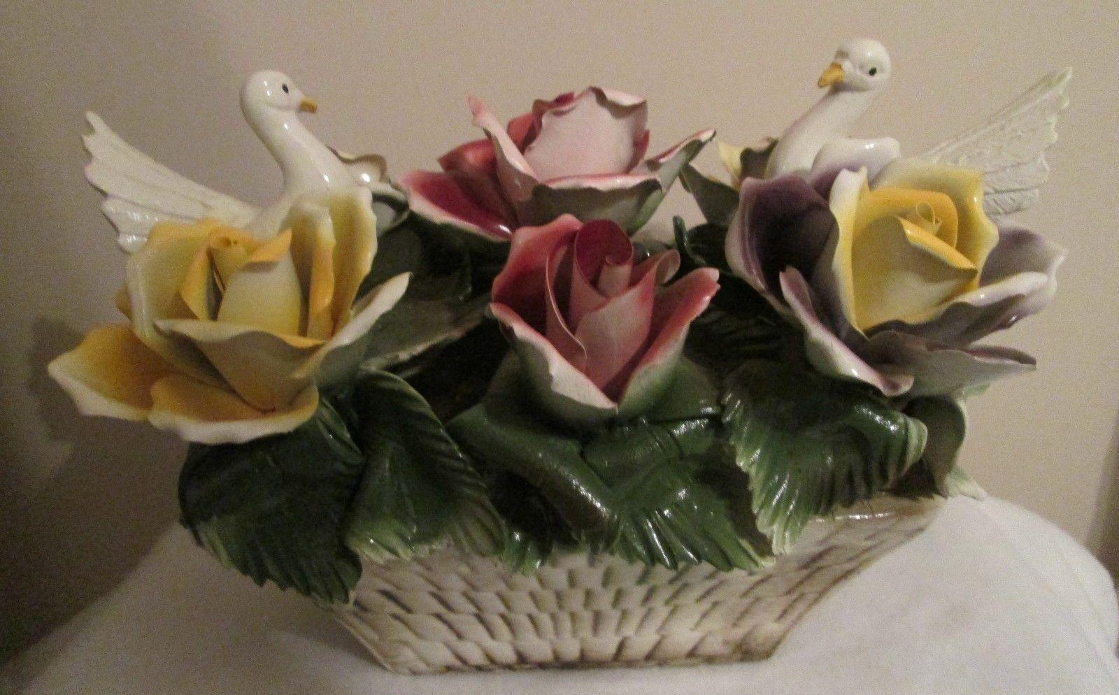 Capodimonte large porcelain weaved basket floral