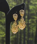 Vintage Crown Trifari© Ornate Textured Filigree Dangle Clip Earrings - $75.00