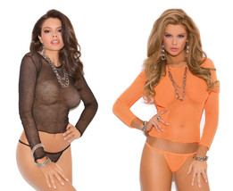 Long Sleeve Fishnet Top Thong Set Cami Camisole... - $11.69