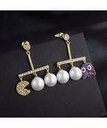 New Fashion Unique cartoon creative new Pac Man pearl earrings for women... - $19.77