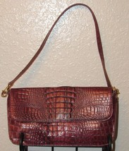 Preston & York Burgundy Metallic Croc Embossed Leather Shoulder Bag/Clutch