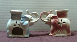 Set of Two Ceramic ELEPHANT Oil Burners // Candle Holders // Incence Burners - $20.00