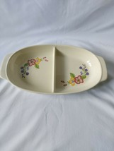 Vintage Hors D'Oeuvres Tapas Serving Dish 2 Compartments Flowers 35.5x19... - $6.84