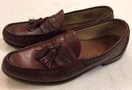 Allen Edmonds Maxfield Chili Brown Leather Braid & Tassel Loafers 9 B - $31.49