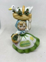Lefton Birthday Girl December Goose and Holly in a Basket - $14.99