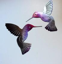 "Hummingbird Fuchsia Painted Pair Metal Wall Art Decor 6"" x 6"" - $29.98"