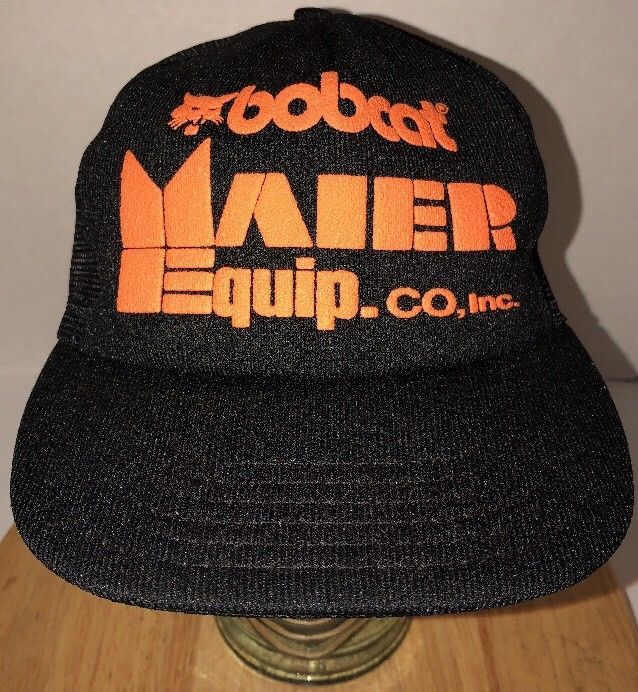 22784bd8529 S l1600. S l1600. Previous. Vintage BOBCAT Maier EQUIP CO INC 80s Black Trucker  Hat Snapback Made in USA