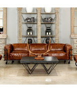 102'' Sofa  Restoration Style Cuba Brown Leather Sofa,Iron Aged Accent D... - $4,628.25