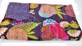 Indian Handmade Black Floral Print Quilt Bedspread Kantha Cotton Single ... - £14.96 GBP