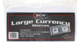 BCW Currency Sleeves - Large Bill, 100 pack - $6.49