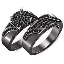 14k Black Gold Plated 925 Sterling Silver Bridal Wedding Ring Set Round ... - $109.99