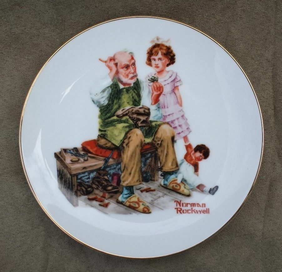 "Norman Rockwell The Cobbler 1984 6.5"" Decorative Collectible Plate Knowles China"