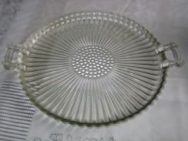 Jeanette 2 Handled Shiny Smooth Top / Textured Bottom 15 inch Glass Tray - $94.05