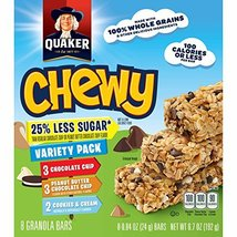 Quaker Chewy Granola Bar Reduced Sugar Variety Pack, 8 ct,  .84 oz each - $9.99